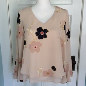 LC Double Layer Blush Floral Bell Sleeve Blouse CS
